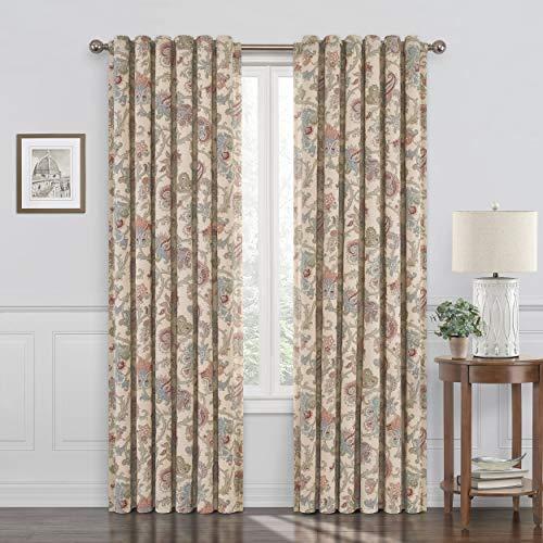"Waverly Arezzo Paisley Design Fashion Darkening Window Curtains Drape for Living Room, 50"" x 84"", Multicolor"