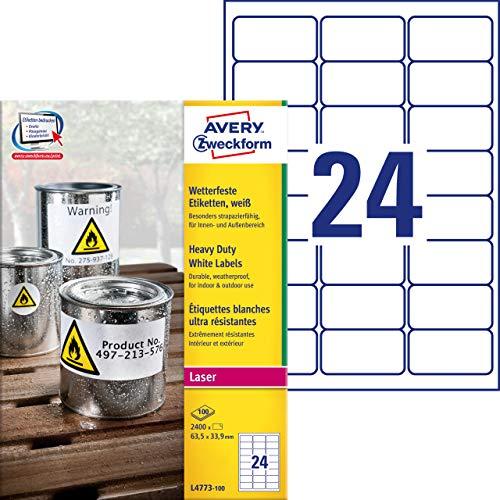 AVERY Zweckform L4773-100 Wetterfeste Folienetiketten (63,5x33,9 mm auf DIN A4, extrem stark selbstklebend, wasserfest, bedruckbare Outdoor Klebefolie) 2.400 Aufkleber auf 100 Blatt weiß