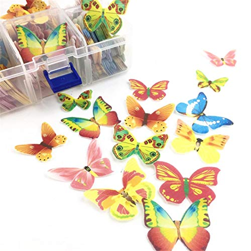 Set Of 100 Edible Cupcake Toppers, Butterfly Flower Shape Cake Baking Decoration Glutinous Edible Rice Paper For Decorating Desserts Wedding Cakes Cupcakes, Mixed Size & Colour