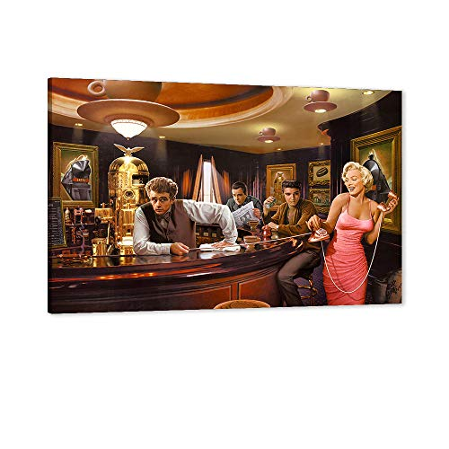 Monroe Canvas Wall Art, Marilyn Monroe & James Dean & Elvis Presley Legends Playing Pool Legal Action Poster for Film Fans, Celebrity Wall Art, Fashion Office Home Bedroom Wall Decor (12' Wx18 H)
