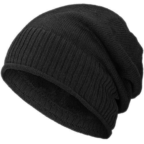 Compagno Beanie Gorro de invierno diseño de punto fino con suave interior de forro polar, Color:Negro