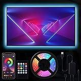RIWNNI LED TV Retroilluminazione 2 metri, Smart Bluetooth Striscia LED RGB USB Alimentata, Controllo App e Telecomando, Impermeabile Strisce LED per a TV da 24-50 Pollici, PC Monitor e Camera da Letto