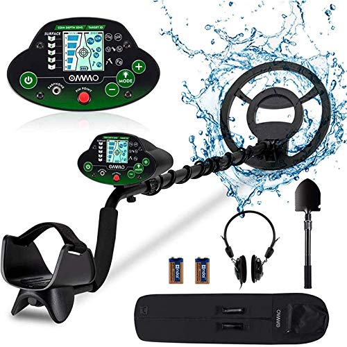 OMMO Metal Detector for Adults and Kids, High Accuracy Adjustable Waterproof Metal Detectors - Pinpoint & Discrimination& All Metal Mode for Detecting Coin Underground and Beach Treasures