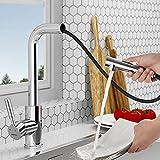 TOWFAU grifo de cocina extraíble, grifo de alta presión con 2 tipos de ducha de chorros de agua, grifo de cocina monomando giratorio 360 °, grifo de fregadero de latón cromado