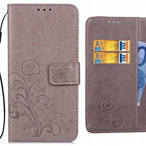 Ougger Handyhülle für ASUS Zenfone 4 Selfie Pro ZD552KL Hülle Tasche, Kunst Blatt BriefHülle Schale Schutzhülle Leder Weich Magnetisch Silikon Cover Schale für ZD552KL mit Kartenslot (Grau)