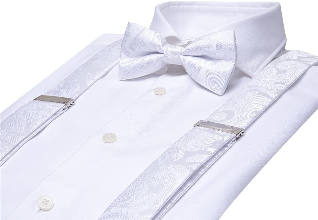 SKREOJF Men's Suspender for Trouser 6 Straps Leather Suspender White for Men Jeans Work Suspenders and Tie Wide Belts (Color : A, Size : Adjustable)