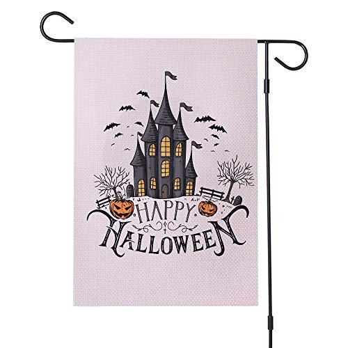 Willkommen Gartenflagge Halloween Spooky Kürbis Garten Flagge Spukhaus Grab Schwarz Fledermaus Scary Yard House Flags Indoor Outdoor Flagge for Halloween Day Party Wohnkultur für Home House Garden Yar