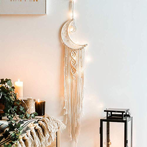 zhengshizuo Girls Room Decor Moon Dream Catcher with Lights Boho Tapestry Macrame Wall Hanging Dreamcatcher Girl Wall Decor with Light Boho Tapestry Rope Art Room Decoration