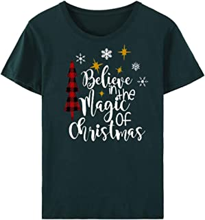 Women Blouses and Tops Fashion,Frunalte Christmas Funny T-Shirt Casual Pullover Short Sleeve Letter Printed Tops