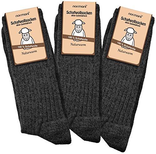 normani 3 Paar Schafwollsocken 100% Schafwolle Norwegersocken Gr. 35-50 Farbe Anthrazit Größe 43/46