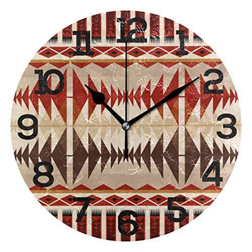 AMONKA Runde Wanduhr mit Indianer-Muster, geräuschlos, Acryl-Uhren für Wohnzimmer, Schlafzimmer, Küche, Schule, Büro