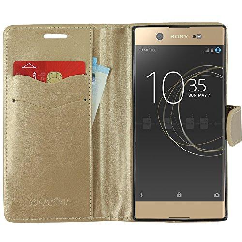 ebestStar - kompatibel mit Sony Xperia XA1 Ultra Hülle XA1 Ultra/Dual (2017) Kunstleder Wallet Hülle Handyhülle [PU Leder], Kartenfächern, Standfunktion, Gold [Phone: 165 x 79 x 8.1mm, 6.0'']