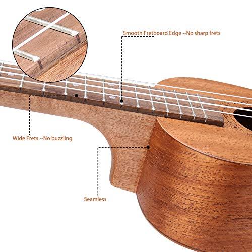 Hricane Ukelele Ukeleles Concierto 23 Pulgadas UKM-2, Instrumento de Caoba, Ukulele tradicional, ukele hawaiana con bolsa grande