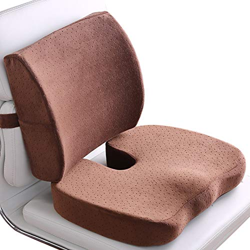 Memory Foam Car Seat Cushion And Lumbar Support Pillow, Coccyx Orthopedic Seat Cushion for Office Chair Lumbar Support Back Pillow,F