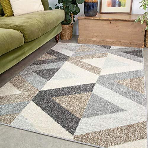 Contemporary Navy and Grey Diamond Trellis Rug Runner Striped Geometric Durable Grey Living Room Area Bedroom Hallway Rugs 60cm x 240cm