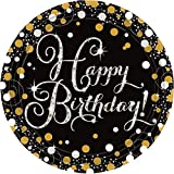 amscan 10022562 9900548 8 Papierteller Sparkling Happy Birthday, Gold