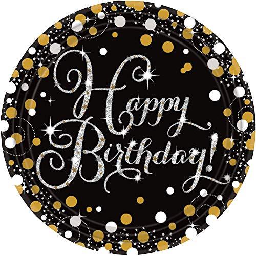 Amscan 9900548 - Papierteller Sparkling Happy Birthday, 8 Stück, ca. 23 cm, Geburtstag, Einwegteller