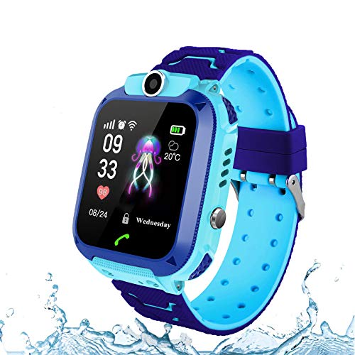 JOJOHOY Kids Smart Watch, Smart Watch for Kids with SOS Two Way Call Camera Alarm Clock IP67 Waterproof Smartwatch for Boys Girls - Blue