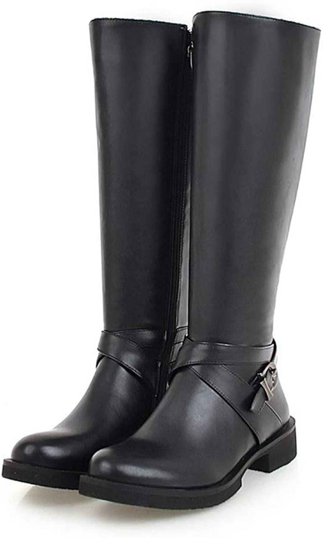 Hoxekle Women Knee High Boot Low Heel Round Toe Zipper Leather Knight Female Long Boots