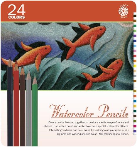 Pentalic Art 24-Piece Watercolor Pencil Tin Set