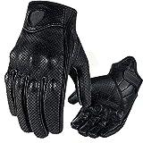 FELICIAAA オートバイの手袋タッチスクリーンゴートスキンレザー本物正規品サイクリングオールシーズンモトグローブ男性レーシングバイクGuantes Luvas (色 : Perforation, サイズ : XL)