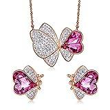 SWAOOS Conjunto de Joyas para Mujer Adornado con Cristales Mariposa Collar de Animales Conjunto de Pendientes Conjunto de Cadena de joyería de Oro Rosa