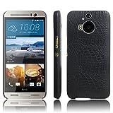 Funda HTC One M9 Plus PU Cuero Patrón Cocodrilo Bumper Back Case Cover (Negro)