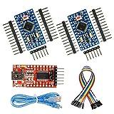 WayinTop 2pcs Pro Mini ATMEGA328P 5V 16MHz Development Board + FT232RL FTDI Mini USB to TTL Serial Converter Adapter 3.3V 5.5V + 30cm USB to Mini 5Pin Download Cable + 10Pin F-F Jumper Wire