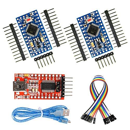 WayinTop 2pcs PRO Mini ATmega328P 5V 16MHz Scheda di Sviluppo Microcontrollore + Adattatore Seriale FTDI FT232RL da USB a Ttl per 3,3V e 5V + 30cm Cavo da USB a Mini 5Pin Scarica + 10pin Cavo Jumper
