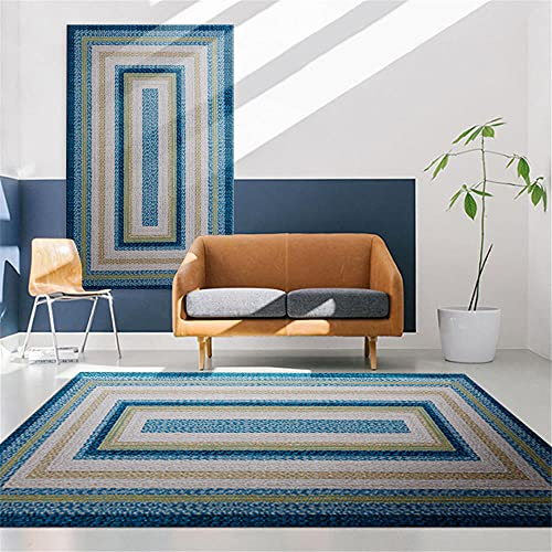 decoración habitación bebe Azul Patrón cuadrado azul de la alfombra de la sala de estar con lavado de agua de alfombra duradera alfombra grande salon 180x280cm alfombrilla antideslizante 5ft 10.9''X9