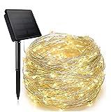 ZXPPL 300 Cabezas 32 Metros Luces LED de Cadena Solar, Luces de Alambre de Cobre, Luces de decoración navideña, linternas de jardín al Aire Libre, Luces de Cadena de jardín, 8 Funciones