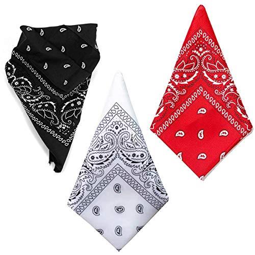 Cisne 2013, S.L. Pack de Tres Pañuelos Bandana de Algodón Microfibra para Cabeza o Cuello. Pañuelo Unisex para Hombre y Mujer. Tamaño aproximado 55x55cm. Color Rojo, Negro y Blanco.