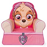 Marshmallow Furniture Comfy Foam Toddler Kid's High Back Chair Armchair for Ages 2 Years Old and Up, Paw Patrol Skye, Pink