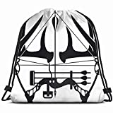 DHNKW Whitetail Buck Antlers Compound Bow Sports Recreation Arrow 3D Print Drawstring Backpack Rucksack Shoulder Bags Gym Bag 17X14 inch