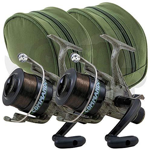 2 x Lineaeffe Commando 60 1BB, Camo Freespool Karpfenläufer, Präparat, Angelrollen, vorgeladen mit 5,4 kg Karpfenschnur und 2 Schutztaschen