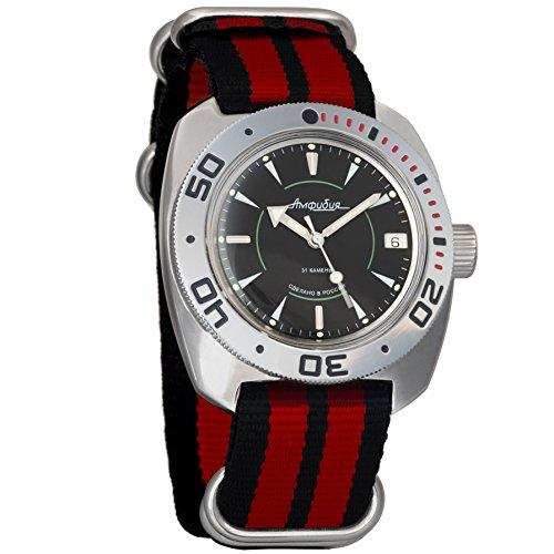 Vostok Amphibian automático Mens Reloj de pulsera de buceo Dude Self-winding Militar buceo anfibios Ministerio caso reloj de pulsera Negro Cara # 710923