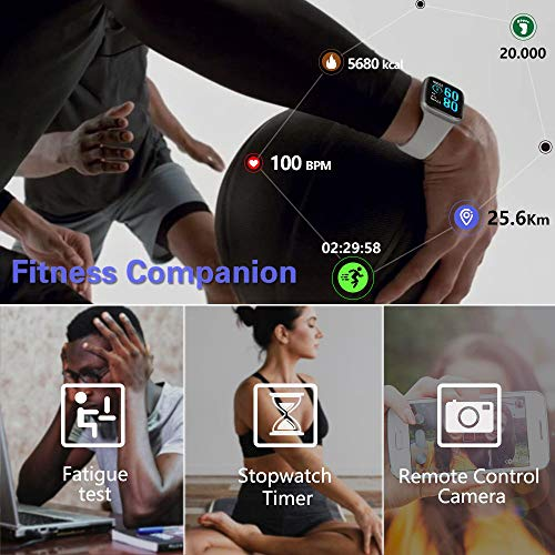 FITVII Smart Watch, Fitness Tracker with IP68 Waterproof Watches, Blood Pressure Heart Rate Monitor with Running Pedometer Step Counter Sleep Fitness Smart Watch for Men Women with iPhone & Android 7