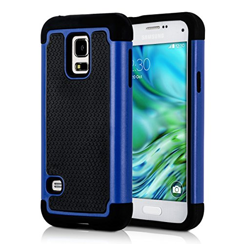 kwmobile Hülle kompatibel mit Samsung Galaxy S5 Mini G800 - Hybrid Handy Cover Handyhülle Case Schutzhülle in Blau Schwarz