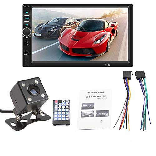 ePathChina 7 Inch Double Din Bluetooth Car Stereo Receiver, in Dash HD Touch Screen with Rear View Camera, Car Video Radio MP5 Player Support Mirror Link for Android/USB/AUX/TF