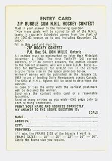 1962-63 Parkhurst Hockey Tally/zip Game Card Near-Mint