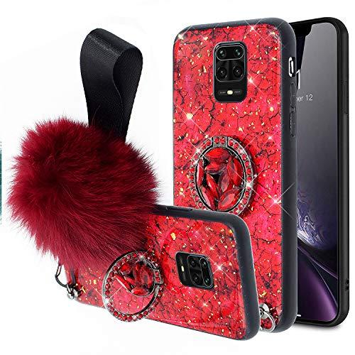 Jinghuash Kompatibel mit Xiaomi Redmi Note 9S/Note 9 Pro/Note 9 Pro Max Hülle Ultradünn TPU Silikon + PC Hart Case mit Ring Ständer Glitzer Diamant Strass Plüsch Ball Schutzhülle Damen Mädchen Rot