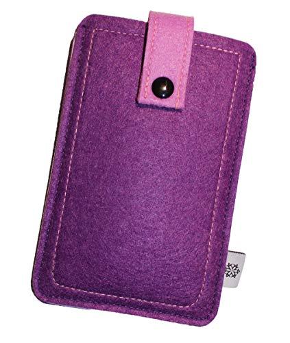 Dealbude24 Filz-Tasche passend für Nokia 3310, Hochwertige Handy-hülle, Schutz-Tasche mit Herausziehband & Drucknopf, Etui stoßfest, weich & reißfest in Lila - XS