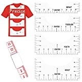 T-Shirt HTV/Vinyl Alignment Tool with Bonus Tape Measure (5 in Pack), T Shirt Ruler Guide to center design for heat press, T Shirt Printing Guide for Adult, Youth, Toddler, Infant, Alignment Ruler