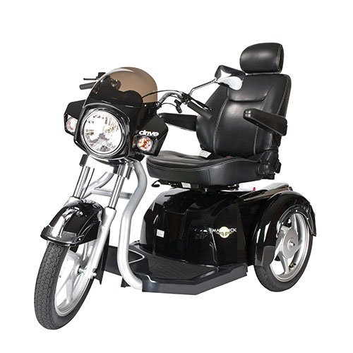Drive Medical Maverick Executive Three Wheel Power Scooter with Seat, Black, 22'