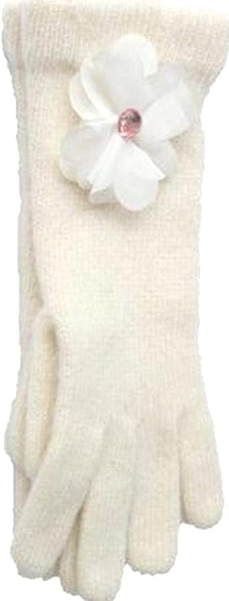 Winter White Angora Gloves Trimmed with Rhinestone Center Chiffon Flower