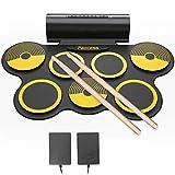PAXCESS 電子ドラム ポータブルドラム 7個ドラムパッド スピーカー内蔵 マルチ伴奏 デモ機能搭載 12デモ曲 7ドラム音色 9リズム 2スティック フットペダル イヤホーン対応 充電式 大容量電池 楽器 練習/初心者/入門/子供 イェロー
