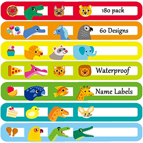Youngever 180 Pack Baby Bottle Labels for Daycare, Waterproof, Self-Lamination, Write-on, 60 Fun Design