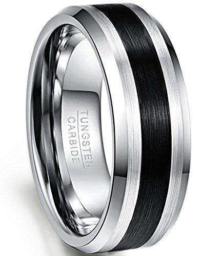 NUNCAD Pride Ring Silber mit schwarz, Schwarze Streifen, hochpolierte und Innenseite gebürstet Finish, Partnerring Hochzeitsring, Ring zum Alltag, Außenbreite 8mm bequem, Größe 71
