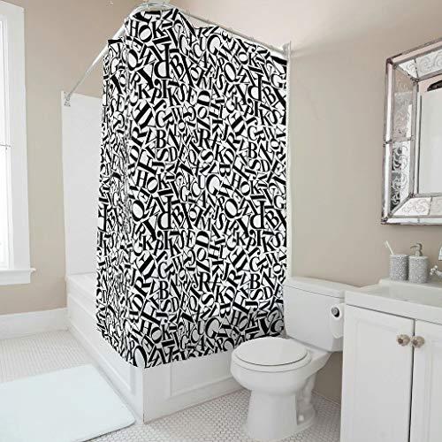 Zhiyue Douchegordijn, 100% polyester, zacht, onderhoudsvriendelijk, badkameraccessoire voor thuis, decoratief met haken en gaten en letters