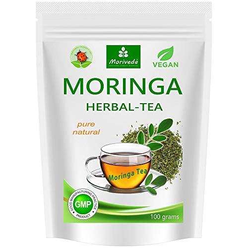 MoriVeda® - Moringa Tee 100g Blattmischung geschnitten (rein natürlich). Garantierte Qualität und bester Geschmack (1x100g)